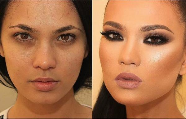 20 фотографий до и после макияжа.