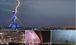 Как молния попадает в известные достопримечательности