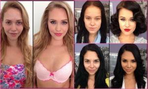 Порнозвезды с и без макияжа