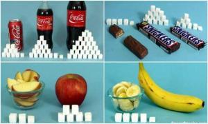 Сколько сахара в разных продуктах
