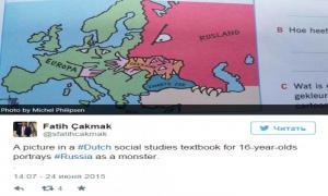 В голландском учебнике Россию изобразили зубастым монстром